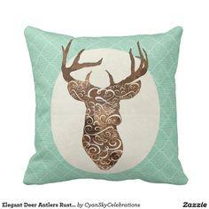 Elegant Deer Antlers Rustic Country Wedding Pillows #deer #antlers #rustic #country #wedding #turquoise #woodland #woodsy #natural #nature