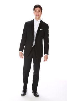 Black Two Button Notch Wedding Bells, Affair, Traditional, Formal, Button, Black, Style, Fashion, Preppy