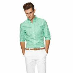Gant The Breton Long Sleeve Shirt Pomona Green - £85 with FREE UK Delivery #Gant #Shirts #Mens #Fashion