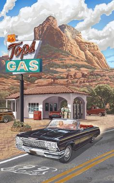 Northwest Art Mall is a sales and marketing agency promoting graphic artists and photographers through tourism worldwide. Old Route 66, Route 66 Road Trip, Travel Route, Vintage Travel Posters, Vintage Ads, Old Gas Stations, Car Drawings, Automotive Art, Photos Du