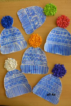 Winter Caps using diluted white ink or white paint, cap pattern, crepe paper (or tissue paper) to make pompons, and glue. Line and shape lesson.