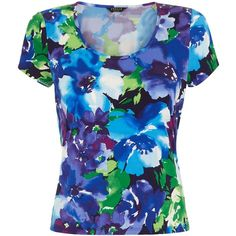 Precis Petite Floral Print Top, Multi (€44) found on Polyvore featuring tops, petite, flower print tops, scoop neck top, blue top, floral top and v-neck tops