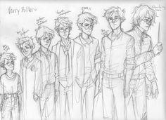 Resultat d'imatges de harry potter drawing diferent ages