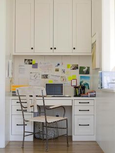 Kitchen   This active kitchen workstation makes multitasking easy and convenient. Outfitted with a built-in desk, bulletin board, and overhead cabinetry, it offers plenty of storage to keep everything organized and within reach