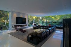 Living room of the Glass Pavilion in Montecito, CA
