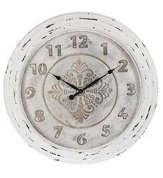WOODEN_METAL WALL CLOCK IN WHITE COLOR D-71 (6_5)