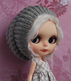 Beanie in light grey knitted boho hat for Blythe by KaChu on Etsy, $22.00