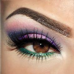 Candy Smokey Purple and green eye makeup