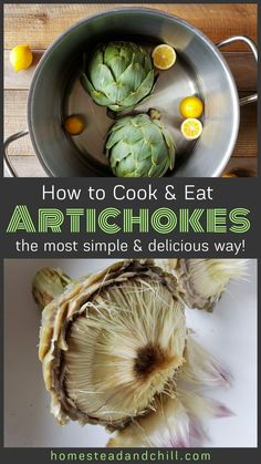 The Best (& Easiest) Way to Cook & Eat An Artichoke ~ Homestead and Chill Artichoke Recipes Boiled, Fresh Artichoke Recipe, Artichoke Sauce, Vegetable Recipes, Vegetarian Recipes, Cooking Recipes, Healthy Recipes, Dipping Sauce For Artichokes, Healthy Snacks