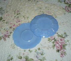 Leo Ladys Loot offers Vintage Embossed Flowers & Cherry Branch Blue Milk Glass Saucers