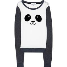 Kawaii Panda Sweatshirt ($33) found on Polyvore featuring tops, hoodies, sweatshirts, sweaters, shirts, remeras, sweat shirts, white sweat shirt, white shirt and sweatshirts hoodies