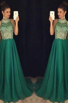 Women's Sparkly Beaded High Neck A-Line Chiffon Prom Dress,Long Sleeveless Dark Green Evening Dresses Formal Party Dress PD318