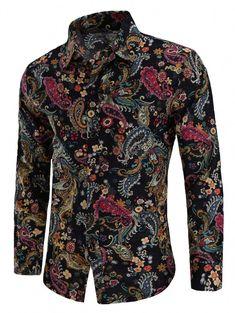 96a0194d9d21dc New 2018 Fashion Paisley Print Linen Casual Shirt Male Flax Dress Shirts  Slim Fit Turn-Down Men Long Sleeve Mens Hawaiian Shirt
