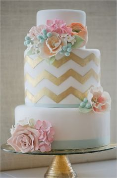 chevron wedding cake by Erica obrien. Pretty
