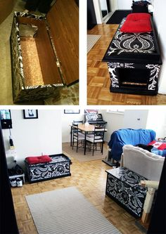 Repurposed Damask Benches | 27 Useful DIY Solutions For Hiding The Litter Box