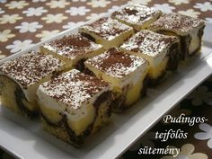 Pudingos-tejfölös sütemény 🍴 Ital Food, Cookie Recipes, Dessert Recipes, Sour Cream Cake, Just Eat It, Sweet Cookies, Hungarian Recipes, Sweet And Salty, Mini Cakes