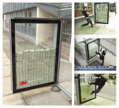 3M placed this advertisement at a bus stop. There's apparently $3000000  in cash inside there, behind their bulletproof glass. If you can break it, it's yours. - Imgur
