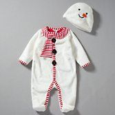 John Lewis Baby Novelty Snowman Sleepsuit with Hat, White