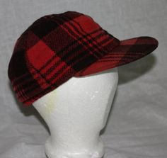 Vintage Hat Red and Black Plaid Hunting Cap by ilovevintagestuff