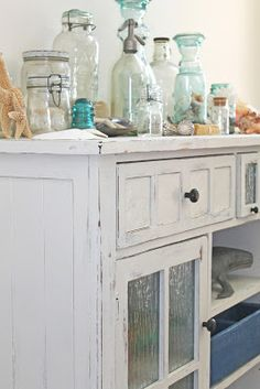 Entryway tour, Beach decor, glass,  sea shells, mason jars, and painted furniture TheRaggedWren.blogspot.com