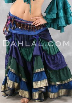 Dahlal Internationale Store - TIERED RUCHED SKIRT of Vintage Sari Fabric, for…