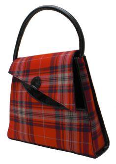 Welsh Harris Tartan Handbag with leather trims