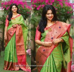 Get a new ethnic look to wearing this saree. Featuring a beautiful light soft silk printed saree. this saree is a must-have in your ethnic wear collection. UN-stitch blouse fabric is in light soft silk fabric. saree length is meter. Mysore Silk Saree, Indian Silk Sarees, Tussar Silk Saree, Soft Silk Sarees, Chiffon Saree, Trendy Sarees, Fancy Sarees, Stylish Sarees, Green Saree
