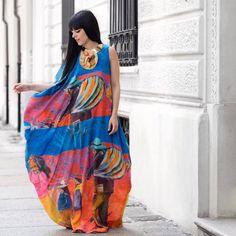 #LauraComolli weraing Stella Jean Spring Summer 2016 printed silk maxi dress <3  #StellaJeanSS16 #SS16 #SpringSummer16 Purses&I by Laura Comolli #StellaJean #EthicalFashion #EthicallyEnvisioned #Haiti #OneNoOneAndOneHundredThousandKilometres