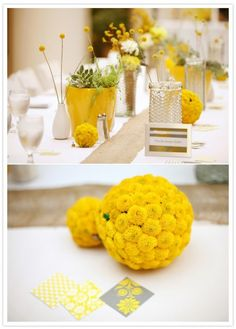 Grey & yellow wedding decor. Perfect! Succulent ready arrangements in yellow pots. With small white vases with billy balls