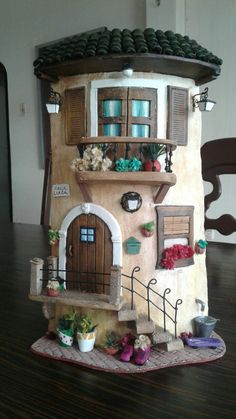 jossete huina martínez's media content and analytics Miniature Fairy Gardens, Miniature Houses, Miniature Dolls, Clay Fairy House, Fairy Garden Houses, Fairies Garden, Clay Houses, Ceramic Houses, House Roof