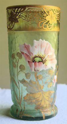 SMALL MONT JOYE GLASS VASE FRENCH ART NOUVEAU GALLE ERA