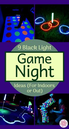 9 Blacklight And Glow In The Dark Game Night Ideas - Container Water Gardens Game Night Party Glow In Dark Party, Glow Stick Party, Black Light Party Ideas, Glow Sticks, Neon Birthday, 13th Birthday Parties, 20th Birthday, Birthday Ideas, Game Night Decorations
