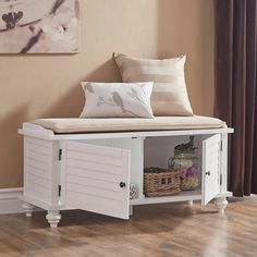 Beachcrest Home Indialantic Storage Bench White Storage Bench, Window Seat Storage, Storage Bench Seating, Upholstered Storage Bench, Living Room Nook, Living Room Storage, New Living Room, Living Room Modern, Storage Cabinets