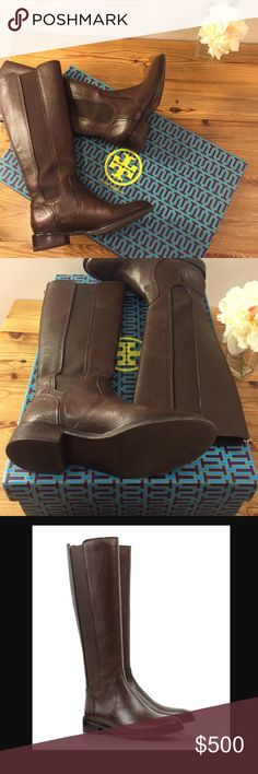 """🎉Host Pick🎉Tory Burch Christy Riding Boots Dark brown leather riding boots. Worn one time for about an hour. Perfect condition! Comes with Tory Burch box. Medium width. Leather upper, leather lining, leather/man made sole. Functional back zipper with logo cut out. 1.25"""" heel, 16"""" tall shaft, 15.25"""" calf circumference. Tory Burch Shoes"""