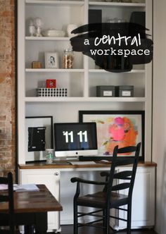 An main floor open-concept workspace # desk styling via The Happy Space Project Workspace Desk, Desk Space, Home Office, Office Desk, Office Spaces, Desk Styling, Space Projects, Open Concept, Workspaces
