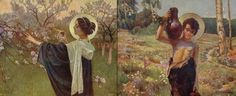 """Piotr Stachiewicz (Polish, 1858-1938) 12 months - full set from """"Boży rok"""" (May & June)"""