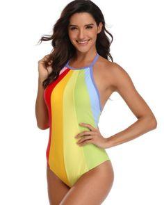 175b5640b50 Halter Paneled Rainbow Print Backless Padded One Piece Swimsuit – FADCOVER