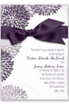 Burst of Colorful Love Wedding Invitation in Plum by David's Bridal | Follow us and start pinning pretty paper options - from invitations and save the dates to programs and table numbers - for a chance to win $1,000 to InvitationsbyDavidsBridal.com. Enter here: http://sweeps.piqora.com/rsvpready