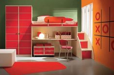 Camerette – Modern Kids Bedrooms by Arredissima : Bright Red Accent In Modern Kids Bedroom With Polka Bed Cover White Desk And Red Chair Wit. Modern Kids Bedroom, Kids Bedroom Designs, Bunk Bed Designs, Boys Bedroom Decor, Kids Bedroom Furniture, Kids Room Design, Bedroom Colors, Furniture Sets, Bedroom Themes