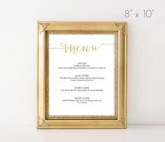 Gold Script Menu - Printable instant download - 8x10 inches - Grace Designs DIY - https://www.etsy.com/listing/248516626/gold-slant-menu-sign-templatecalligraphy?ref=shop_home_active_13