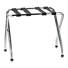 Chrome Folding Luggage Rack Steel - This luggage rack offers convenience for your luggage and beautiful style for your decor. The stainless steel construction has a chrome finish and is accented by four sturdy black fabric straps. Home Depot Credit, Blanket Rack, Steel Racks, Luggage Accessories, Chrome Colour, Luggage Rack, Find Furniture, Closet Storage, Chrome Finish