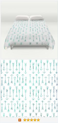 Arrows - Bed Spread - Duvet Cover -  Arrow Art Hand Drawn Teal Arrows - Bed Cover -  Duvet Cover Only - Bedding - Made to Order