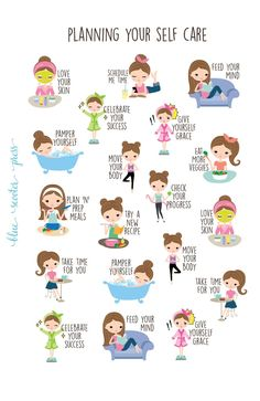 Planning for Self Care Stickers. Light Skin and Brunette Girl. 19 Planner Stickers for Erin Condren, Happy Planner, Simplified Planner. This great Planning for Self Care sticker set has sever The Plan, How To Plan, Planner Stickers, Fridge Stickers, Coping Skills, Life Skills, Mind Hack, Haut Routine, Simplified Planner