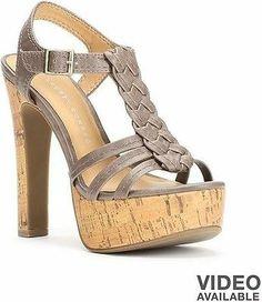 Women's LC Lauren Conrad Gray Braided Cork Design Strappy Platform High Heels | eBay