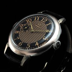 Mens EXCELLENT 1911 OMEGA SWITZERLAND Vintage SILVER Watch BLACK & GOLD