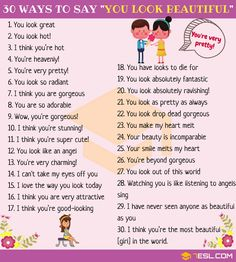 30 Different Ways to Say You Are Beautiful in English The post You Look Beautiful: 30 Ways to Say You Are Beautiful appeared first on Woman Casual - Life Quotes Learn English Grammar, English Writing Skills, English Idioms, English Language Learning, English Phrases, Learn English Words, English Lessons, Teaching English, English Articles