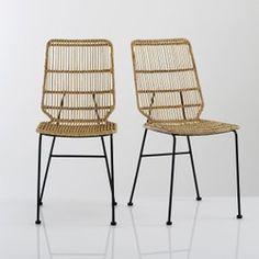 Romeo Lot de 2 chaises avec accoudoirs tendance rétro salle a