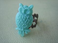 Turquoise Owl Ring  Antique Brass Adjustable Filigree by ZARDENIA, $9.00