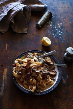 Tagliatelle with Creamy Lemon Vodka Sauce, Sun-Dried Tomatoes & Mushrooms