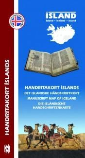 Manuscript Map of Iceland: The Manuscript Map of Iceland contains pictures and brief descriptions of 43 Icelandic manuscripts and their associations with specific locations, which are marked on the map.